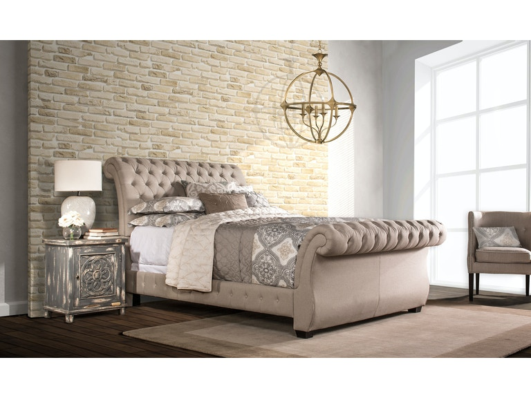 eb26fdffa0a7 Hillsdale Furniture Bedroom Bombay Bed Set - Queen - Linen Stone Fabric - Bed  Rails Included