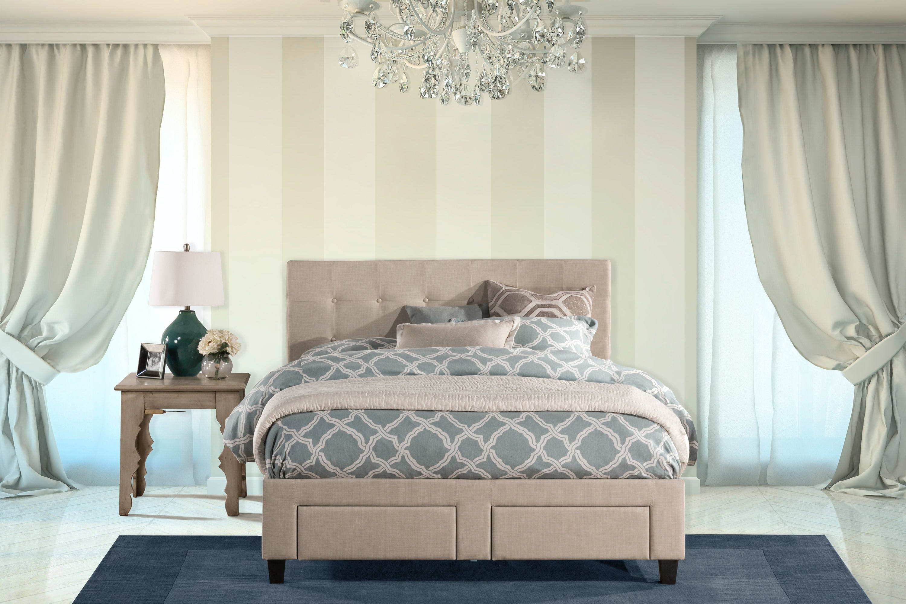 Hillsdale Furniture Bedroom Duggan Front Storage Bed Queen Rails Included 1284bqrs Robinson