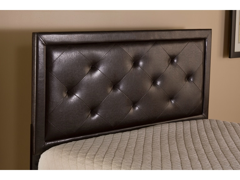 Hilale Furniture Becker Headboard Twin Frame Included Brown Faux Leather 1292htwrb