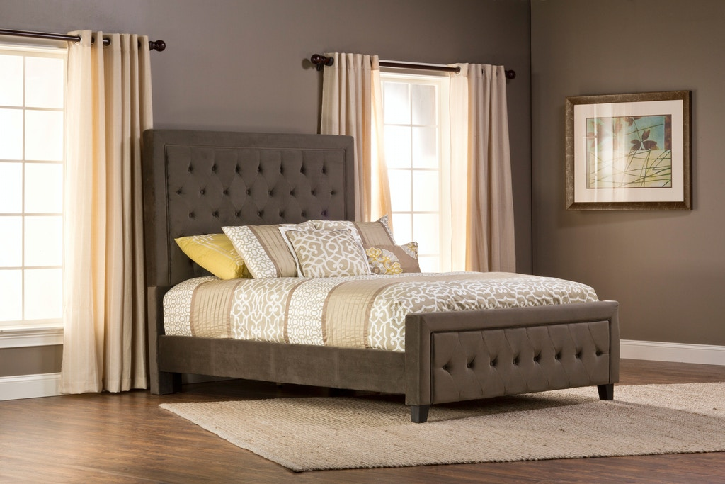Kaylie Bed Set - King/California King - Rails Included - Pewter Finish