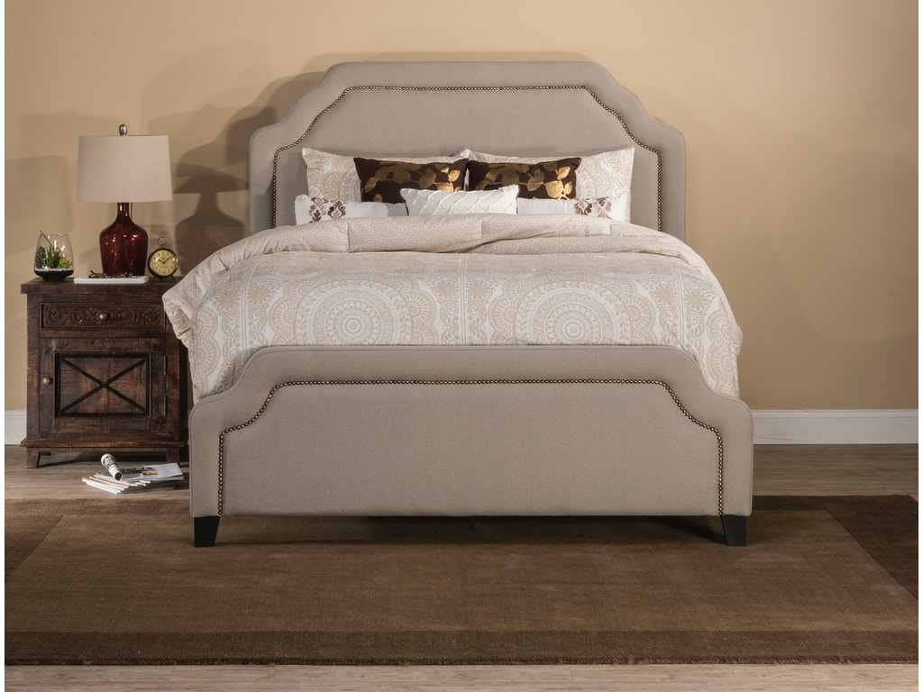 Hilale Furniture Carlyle Bed Set Queen Rails Included Light Taupe 1933bqr