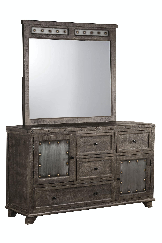 Great Hillsdale Furniture Bolt Dresser And Mirror  Dark Graywash 1963DM