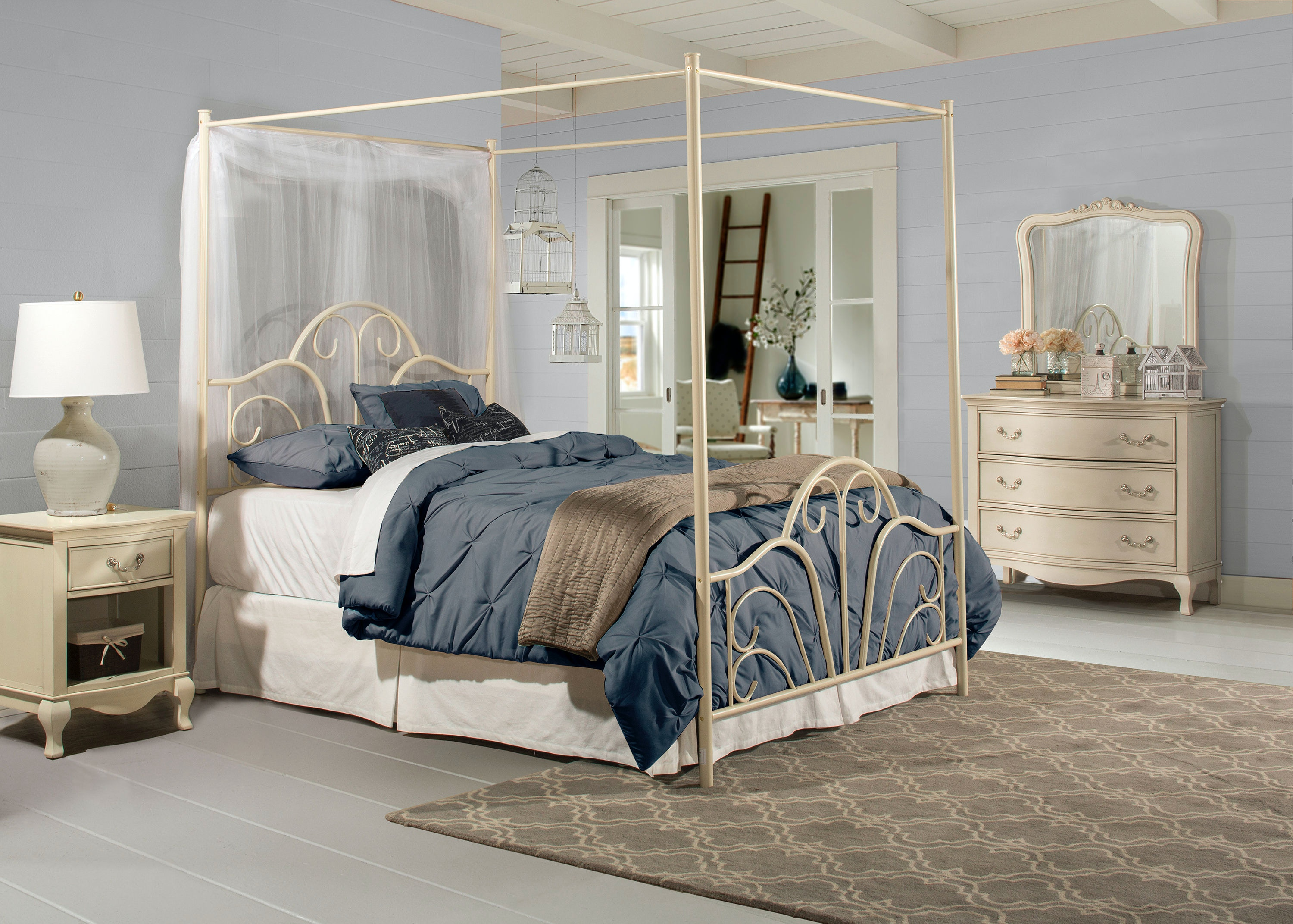 Hillsdale Furniture Dover Bed Set - King - with Canopy and Legs - Bed Frame Not & Hillsdale Furniture Bedroom Dover Bed Set - King - with Canopy and ...