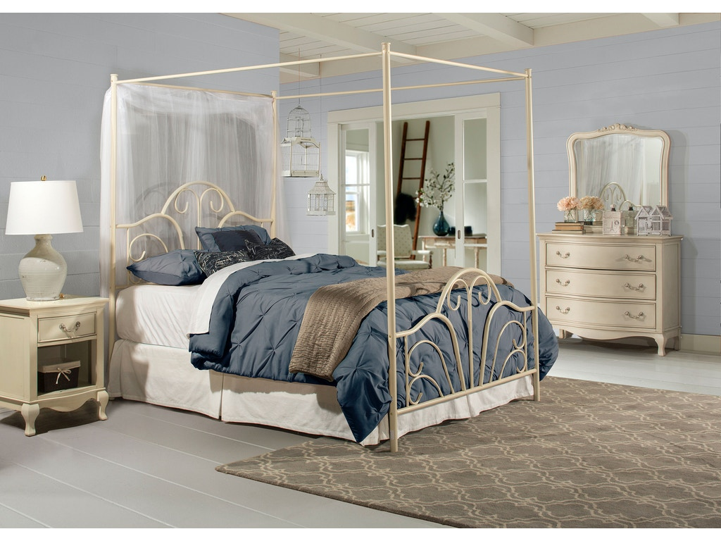 Hillsdale Furniture Bedroom Dover Bed Set Queen With Canopy And Legs Bed Frame Not