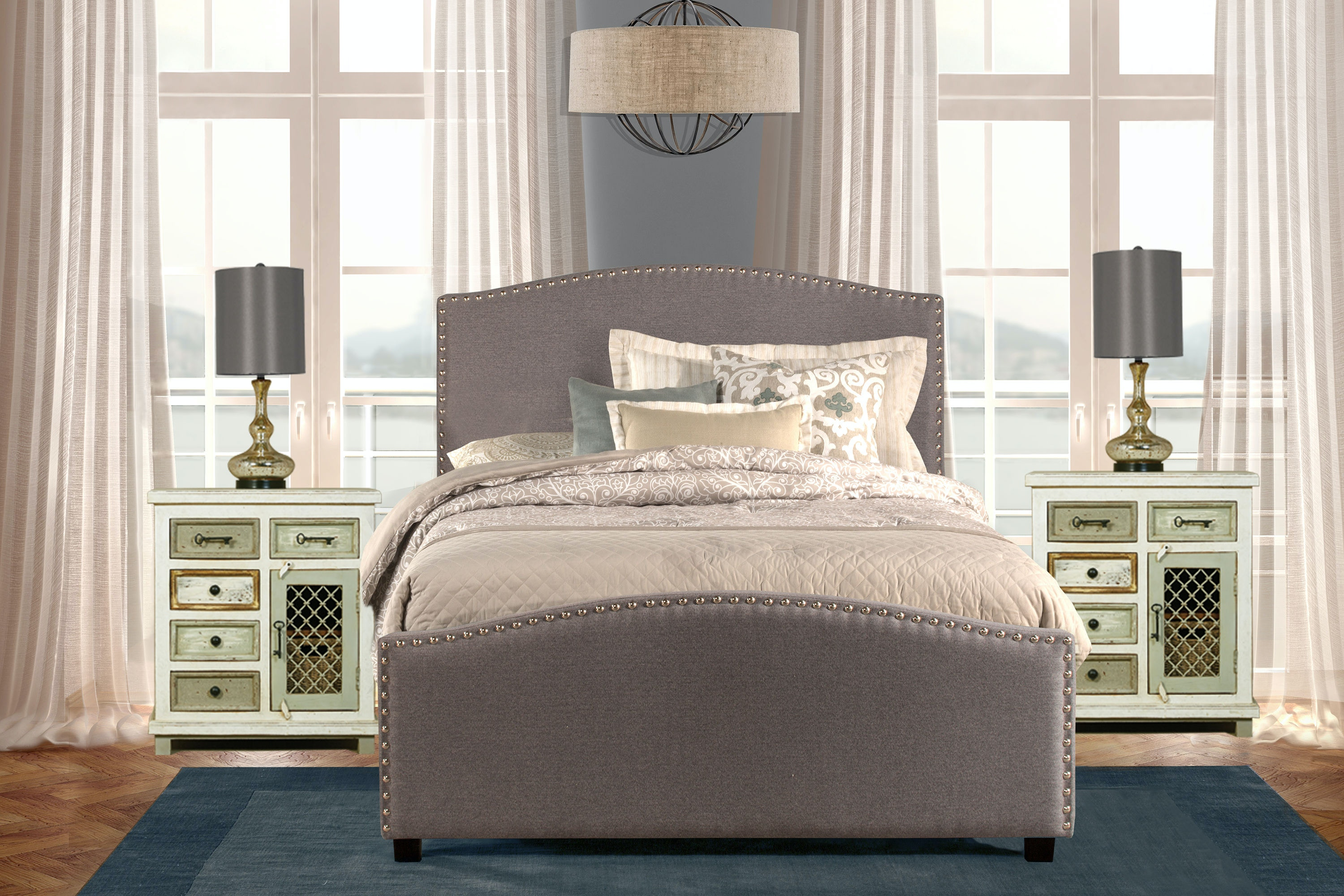 Perfect Hillsdale Furniture Kerstein Storage Bed Set   King   Rails Included   Orly  Gray Fabric 1995BKRS
