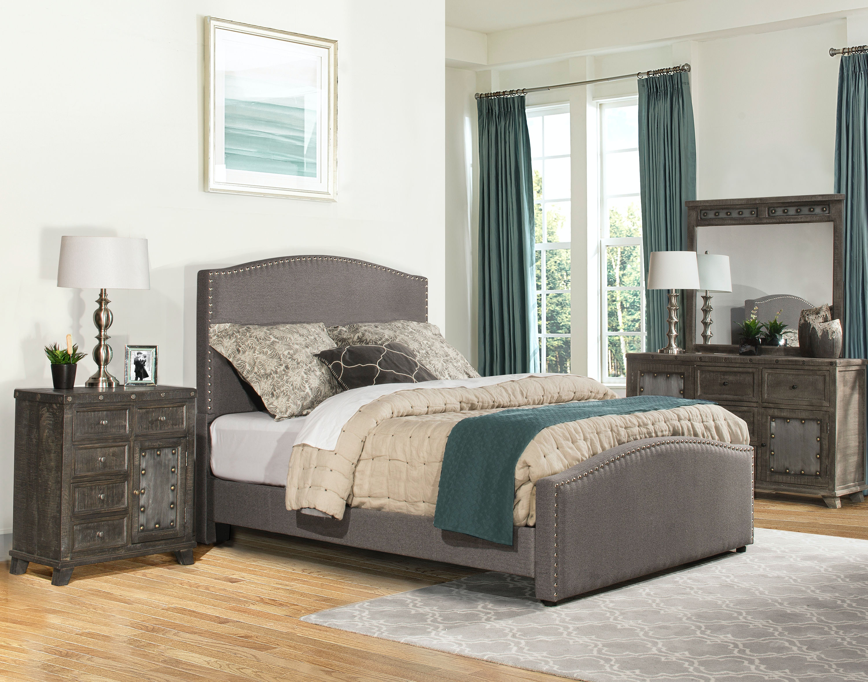 Hillsdale Furniture Kerstein Bed Set   Queen   Rails Included   Orly Gray  Fabric 1995BQR