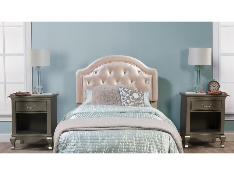 Hilale Furniture Youth Karley Headboard Twin Champagne Faux Leather 100947 109019 At Carol House
