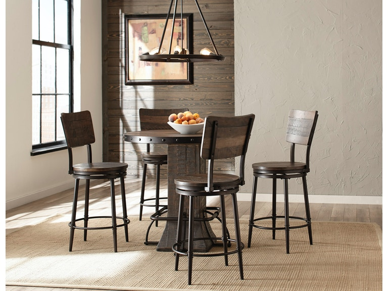 Hillsdale Furniture Jennings 5 Piece Round Counter Height Dining Set With Swivel Stools 4022CDTS5PC