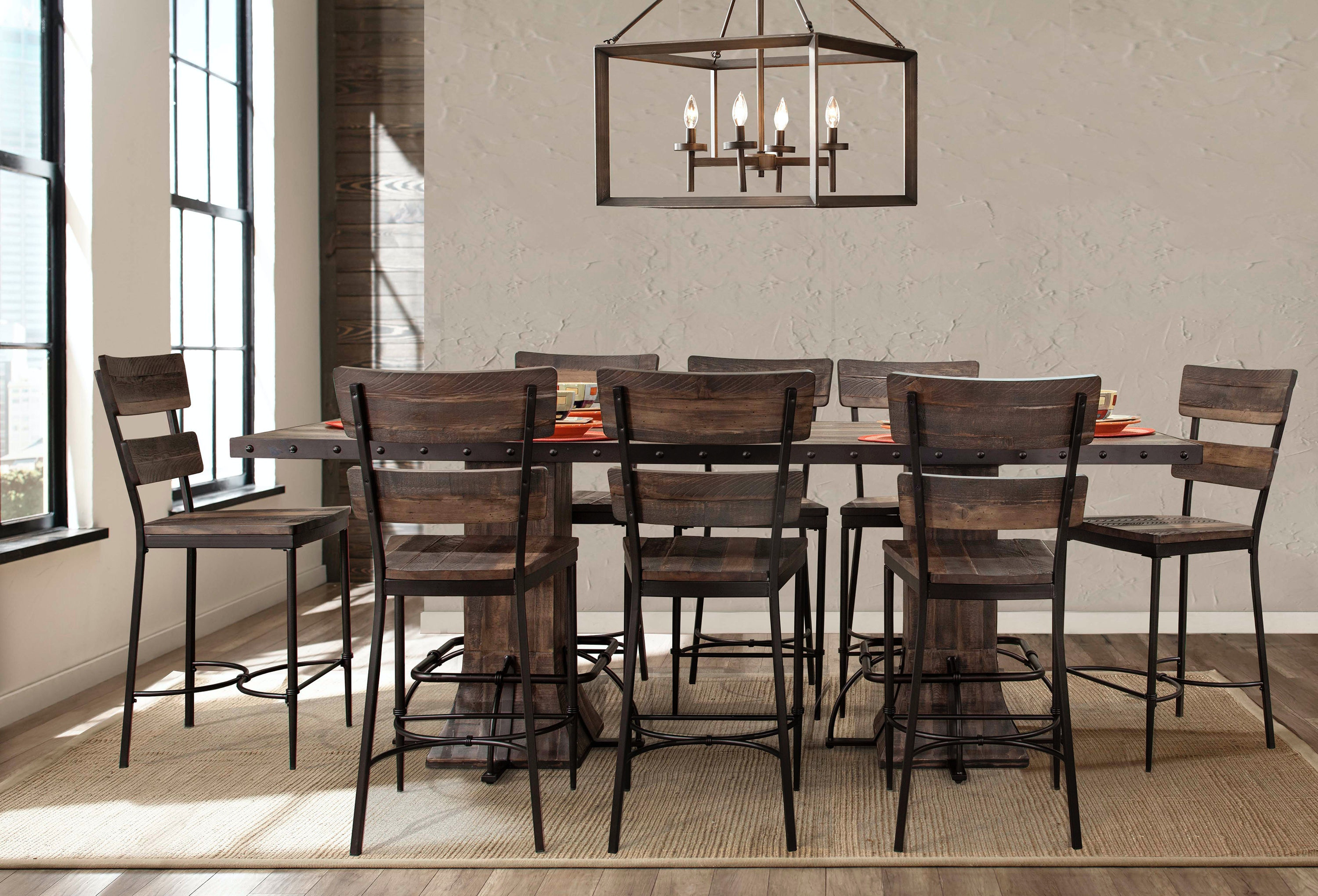 Hillsdale Furniture Jennings 9 Piece Rectangle Counter Height Dining Set  With Non Swivel Counter