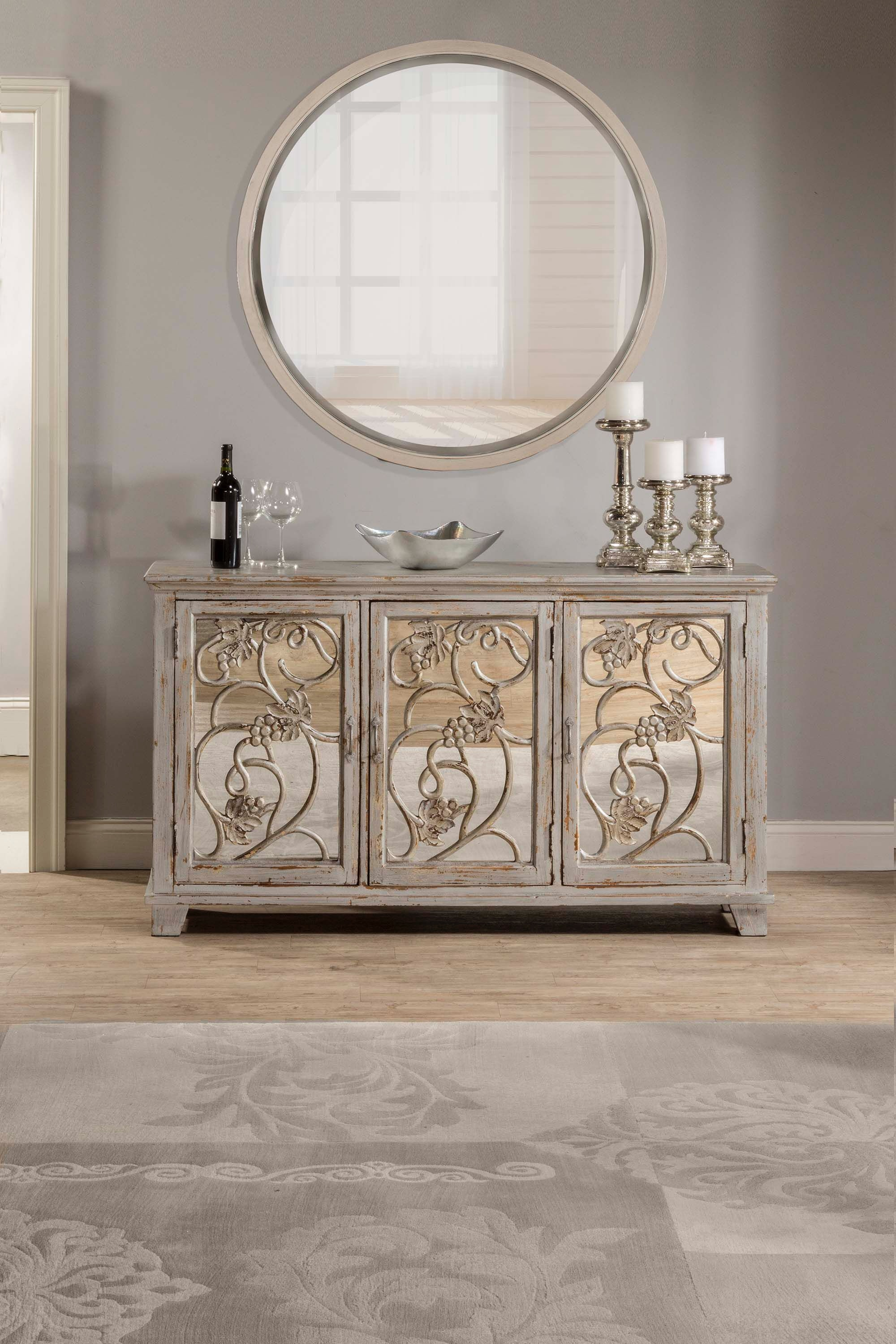 Hillsdale furniture living room malbec decorative mirrored console table details inspired