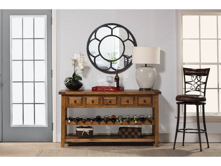 Hilale Furniture Living Room Tuscan Retreat Wine Rack Hall Table With 5 Five Drawers
