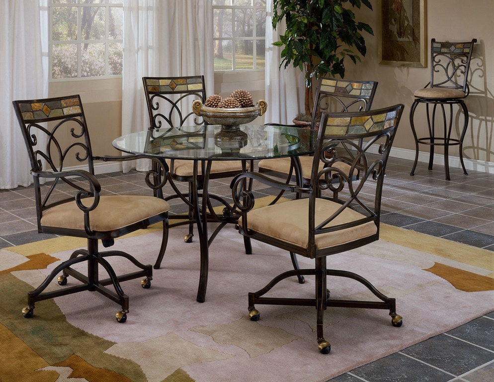 Hilale Furniture Pompeii 5 Piece Dining Set With Caster Chairs 4442dtbcwc