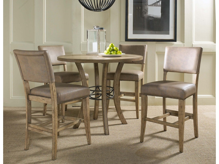 8aed4c630a6 Hillsdale Furniture Charleston 5-Piece Counter Height Round Wood Dining Set  with Parson Stool 4670CTBWS4