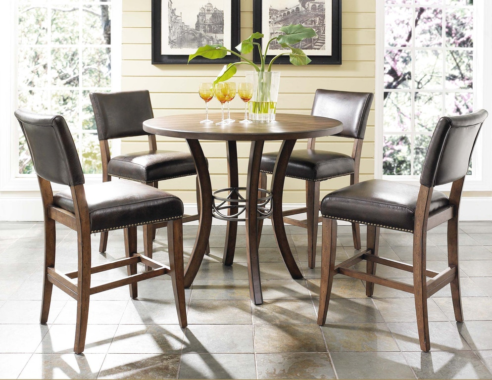 Hillsdale Furniture Bar And Game Room Cameron 5 Piece Counter Height Round Wood Dining Set With