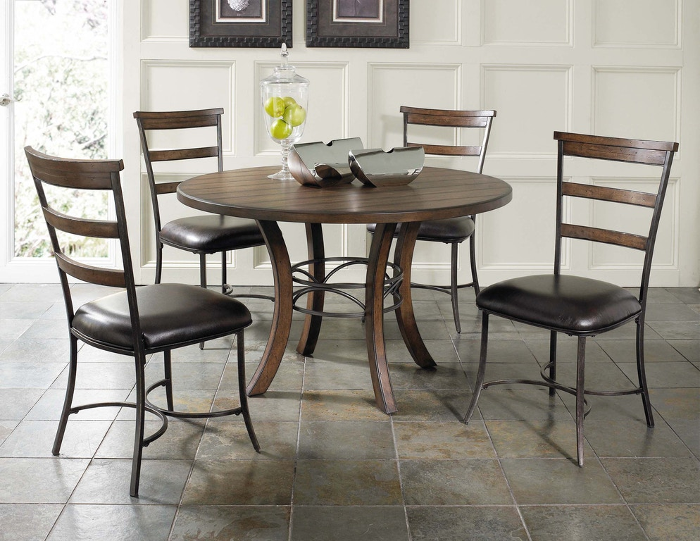 Hillsdale Furniture Dining Room Cameron 5 Piece Round Wood Base Dining Set With Ladder Back Chairs