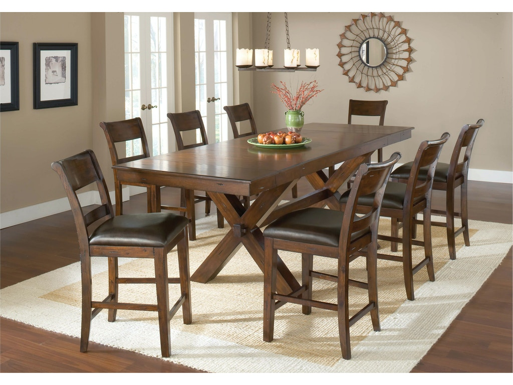 Hillsdale furniture bar and game room park avenue 9 piece for 9 piece dining room set counter height