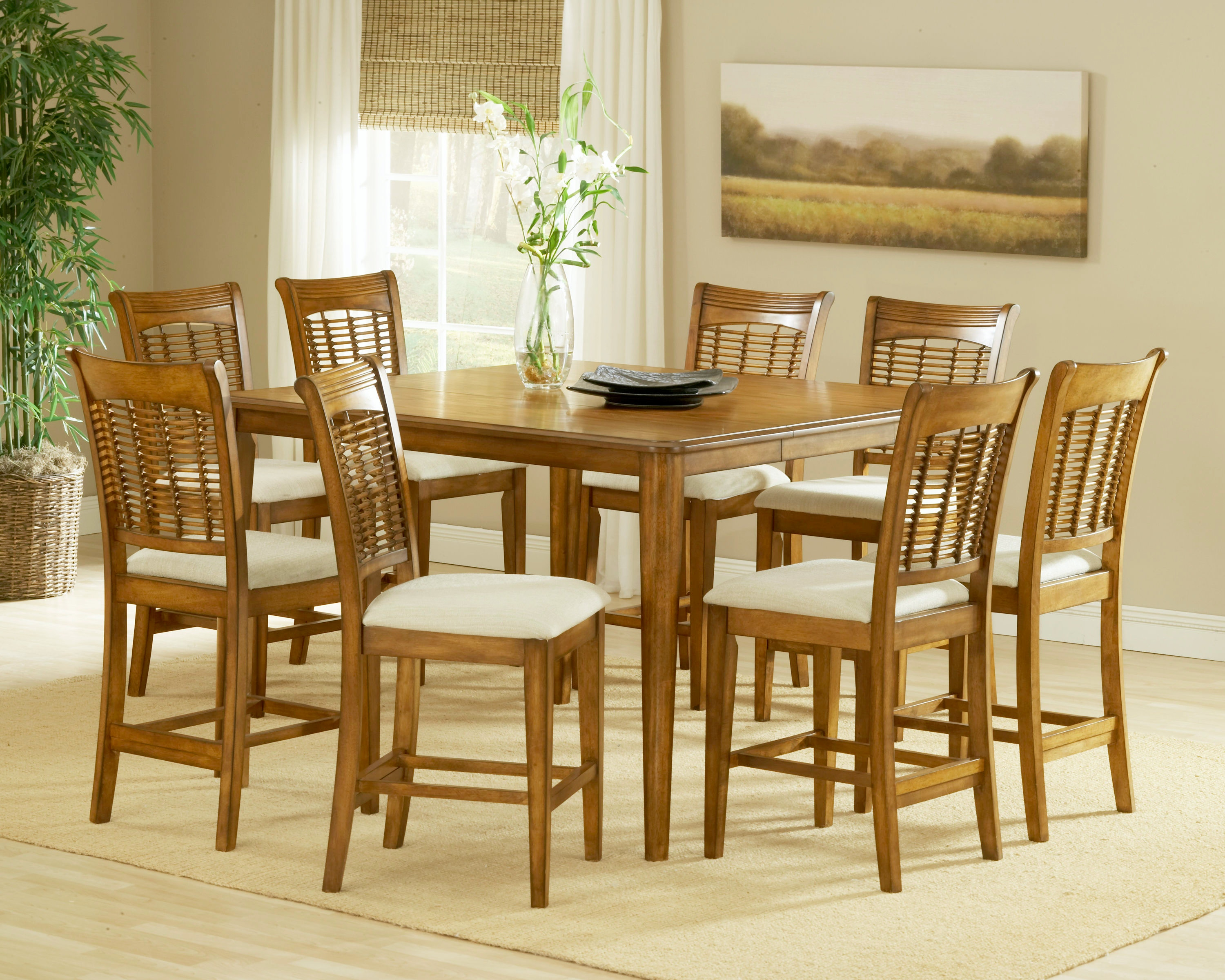 Charmant Hillsdale Furniture Bayberry 9  Piece Counter Height Dining Set   Oak  4766DTBSG9