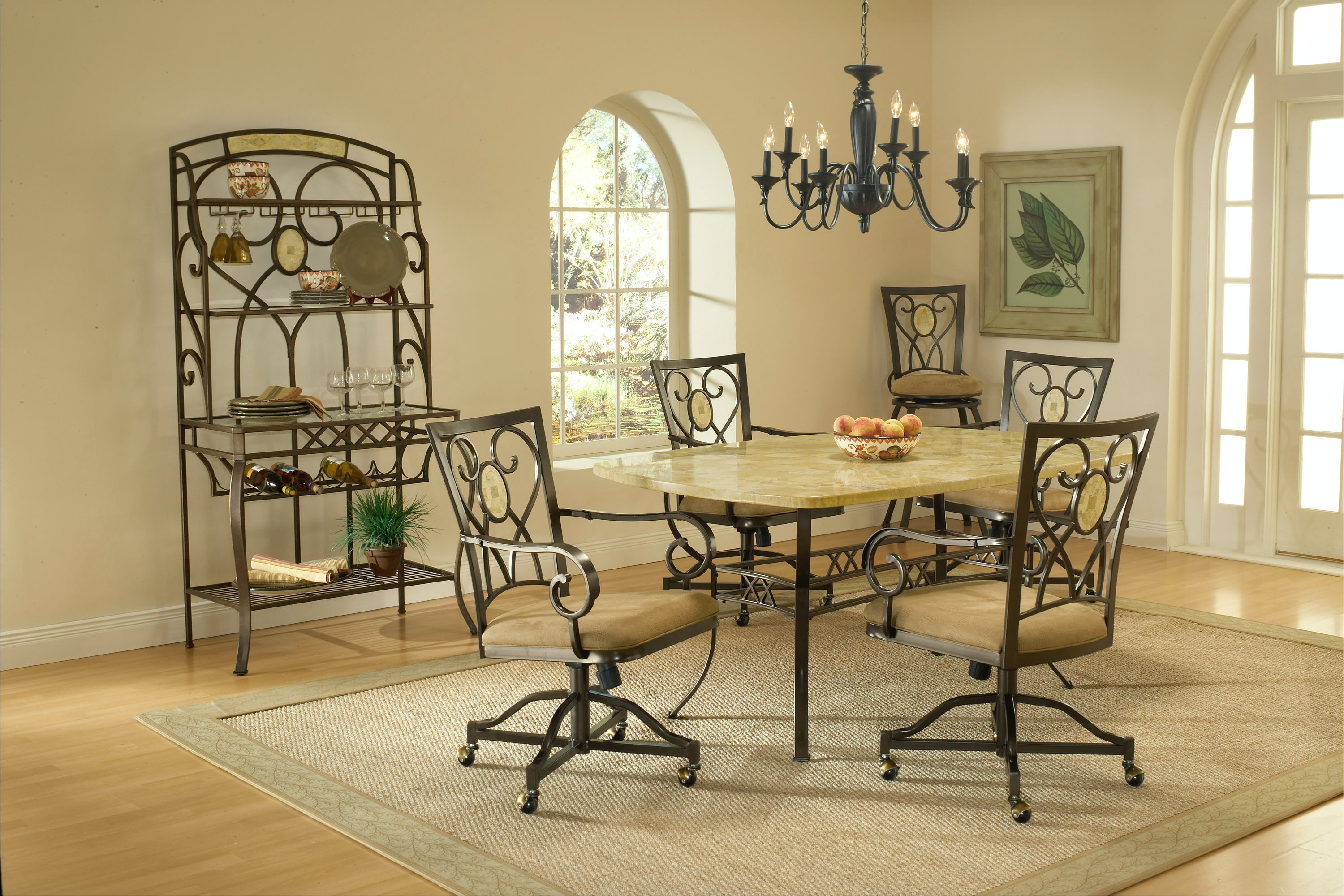 Hillsdale Furniture Brookside 5 Piece Rectangle Dining Set With Oval Back  Caster Chairs 4815DTBCOVC