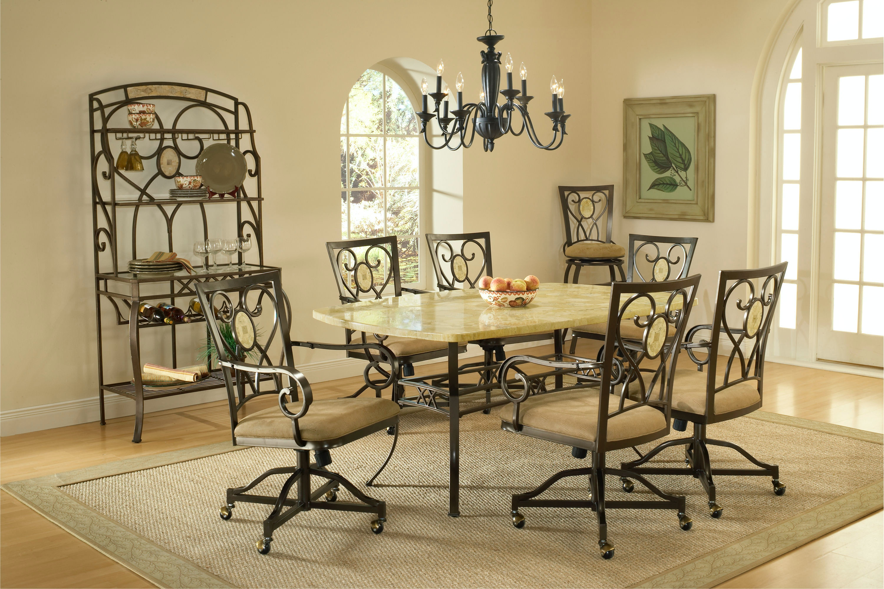 Hillsdale Furniture Brookside 7 Piece Rectangle Dining Set With Oval Back  Caster Chairs 4815DTBCOVC7