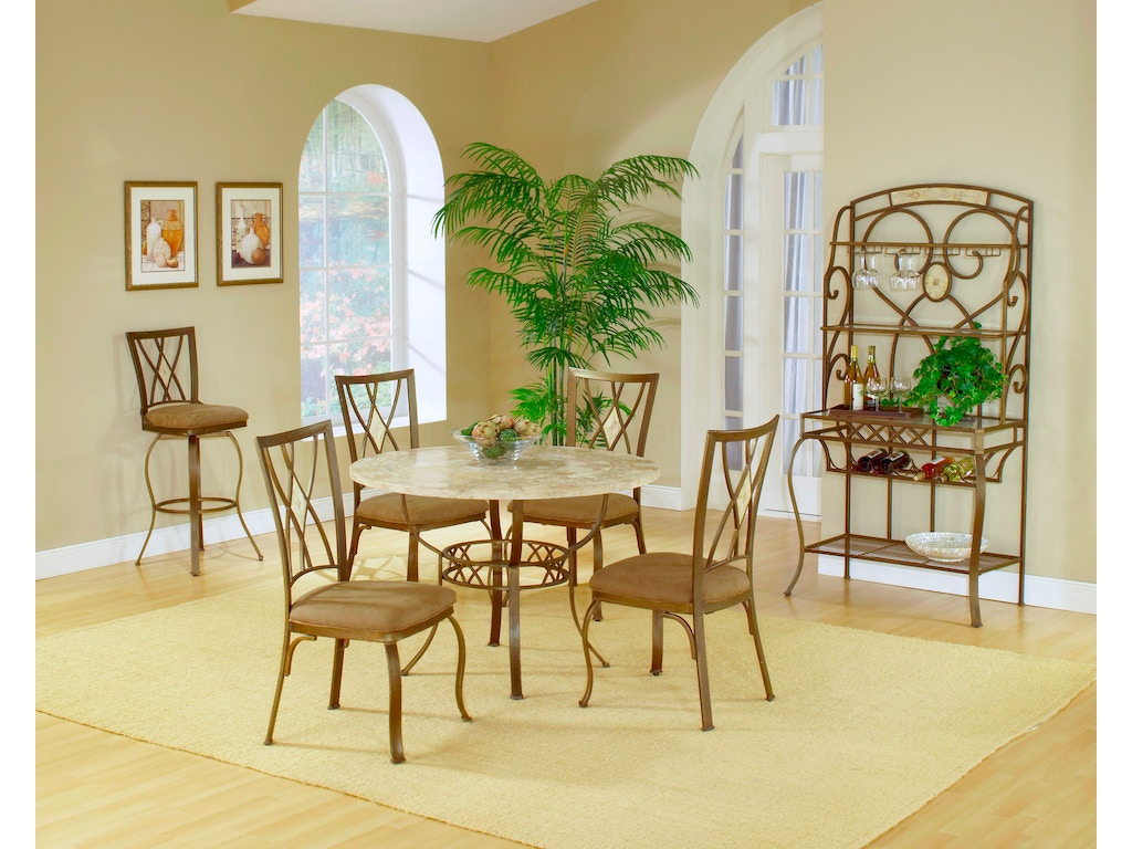 Brookside round dining table stone top hil4815811 for Walter e smithe dining room sets