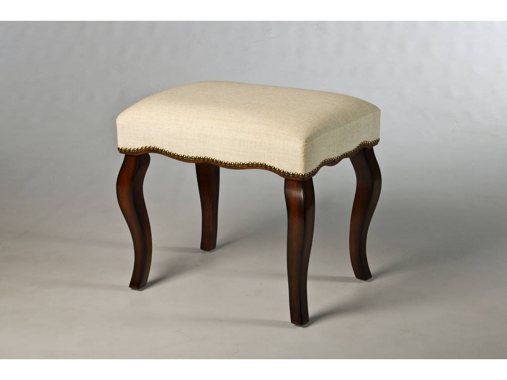 Hillsdale Furniture Bedroom Hamilton Backless Vanity Stool With Nail Head Trim 50962 Hickory