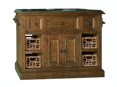 Hillsdale Furniture Tuscan Retreat ® Large Granite Top Kitchen Island with 2 (Two) Baskets - Oxford (Antique Pine) Finish 5225-1040W