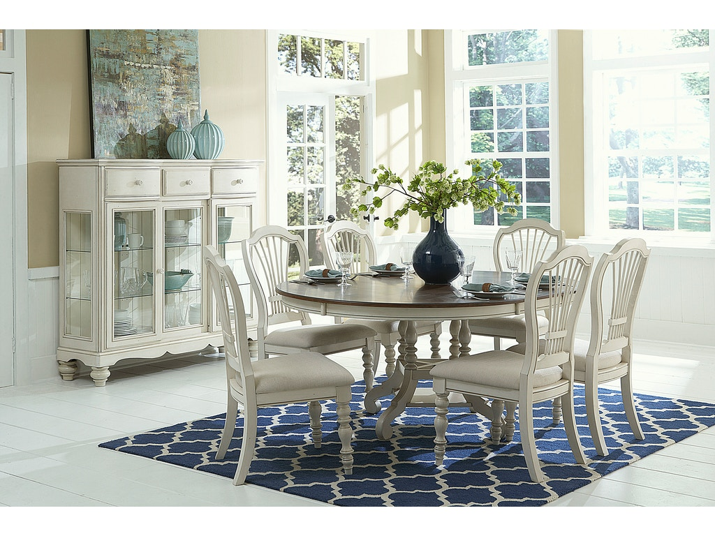 Hillsdale Furniture Pine Island 7PC Round Dining Set With Wheat Back Chairs 5265DTBCW7