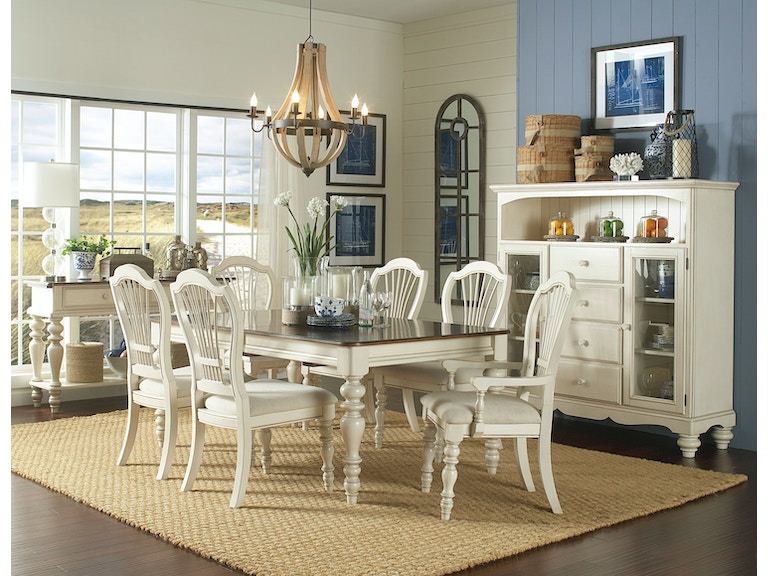 Hilale Furniture Pine Island 7 Pc Dining Set With Wheat Back Chairs 5265dtbrcw7