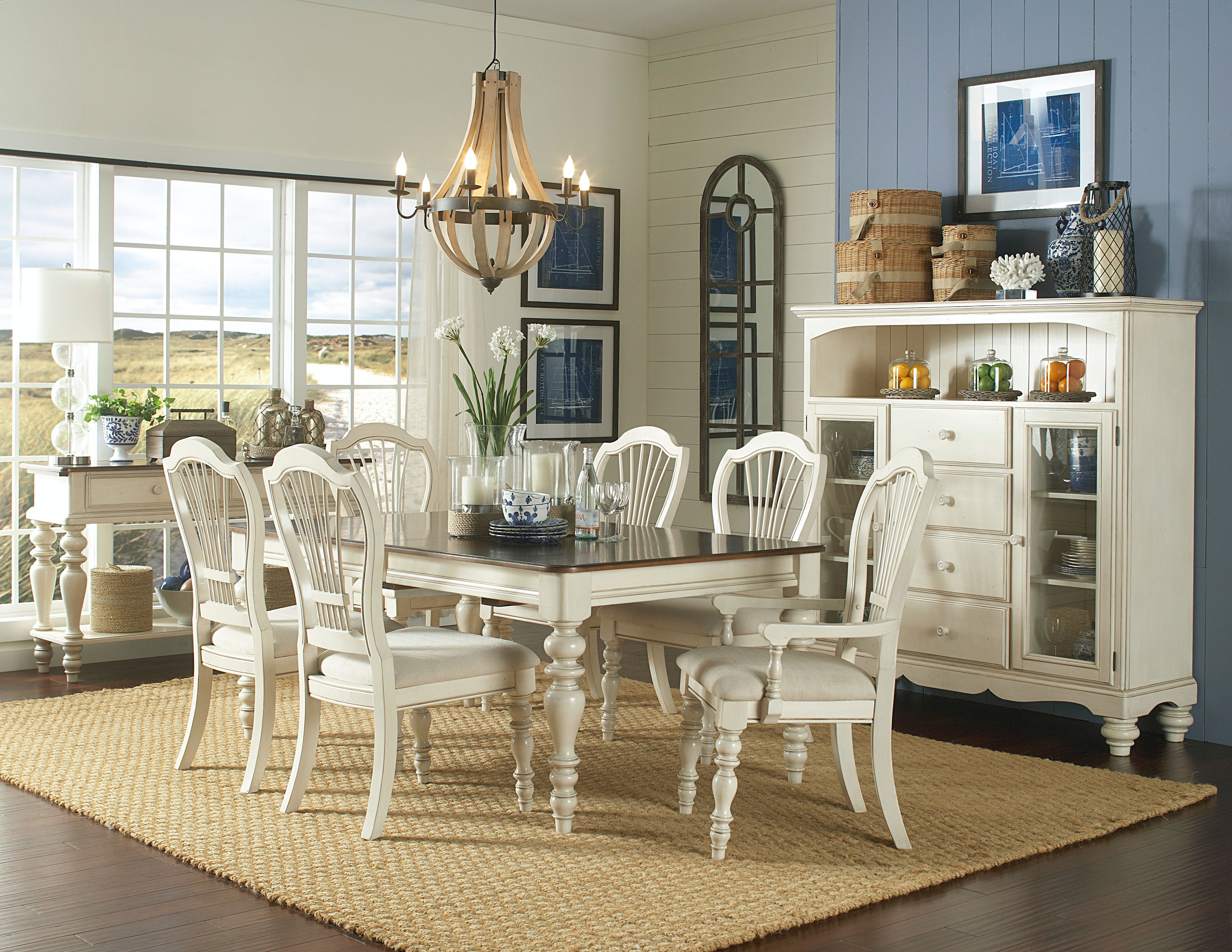 Hillsdale Furniture Pine Island 7 PC Dining Set   With Wheat Back Chairs  5265DTBRCW7