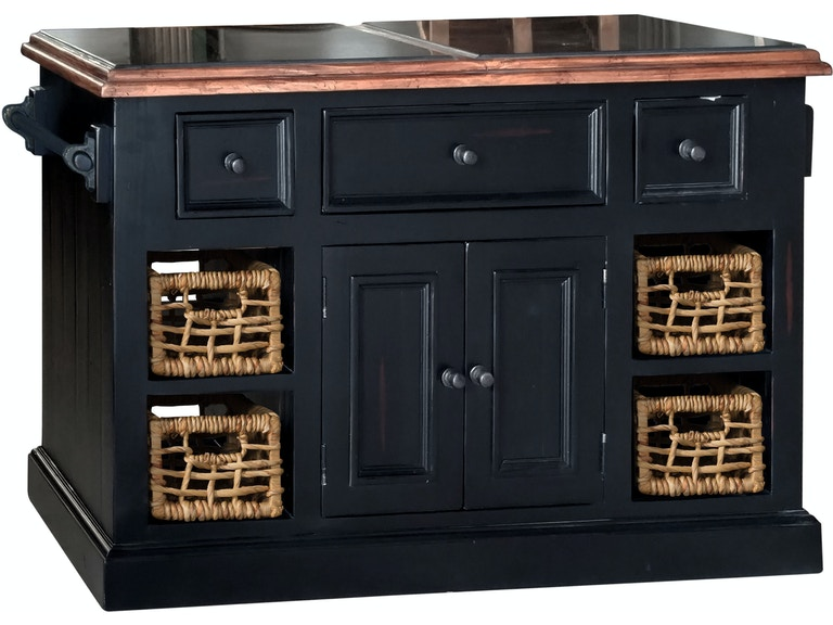 Hilale Furniture Tuscan Retreat Large Granite Top Kitchen Island With 2 Two Baskets