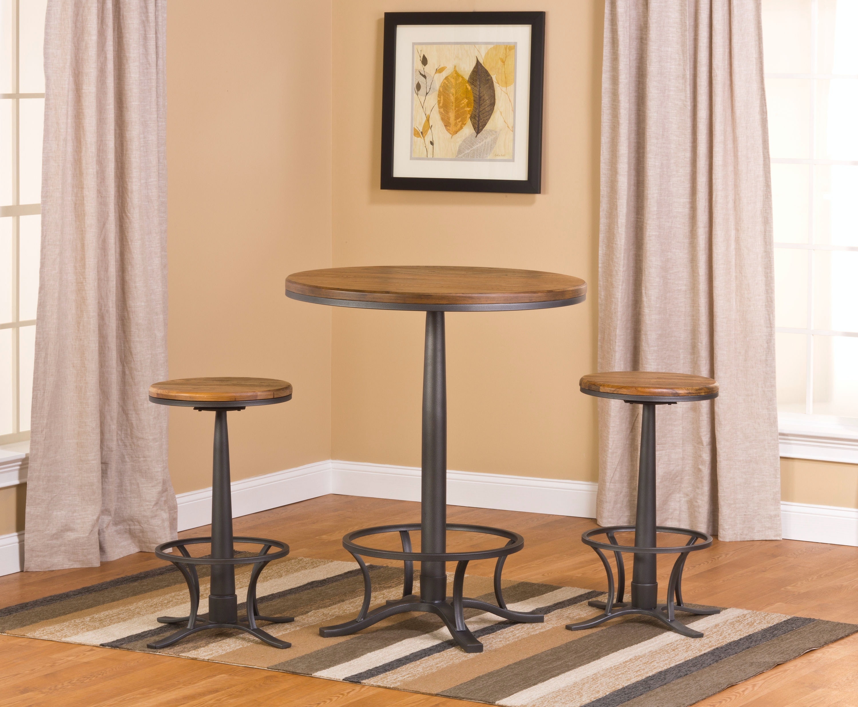 Hillsdale Furniture Westview Bar Height Bistro With Rivage Stools 5441PTBR