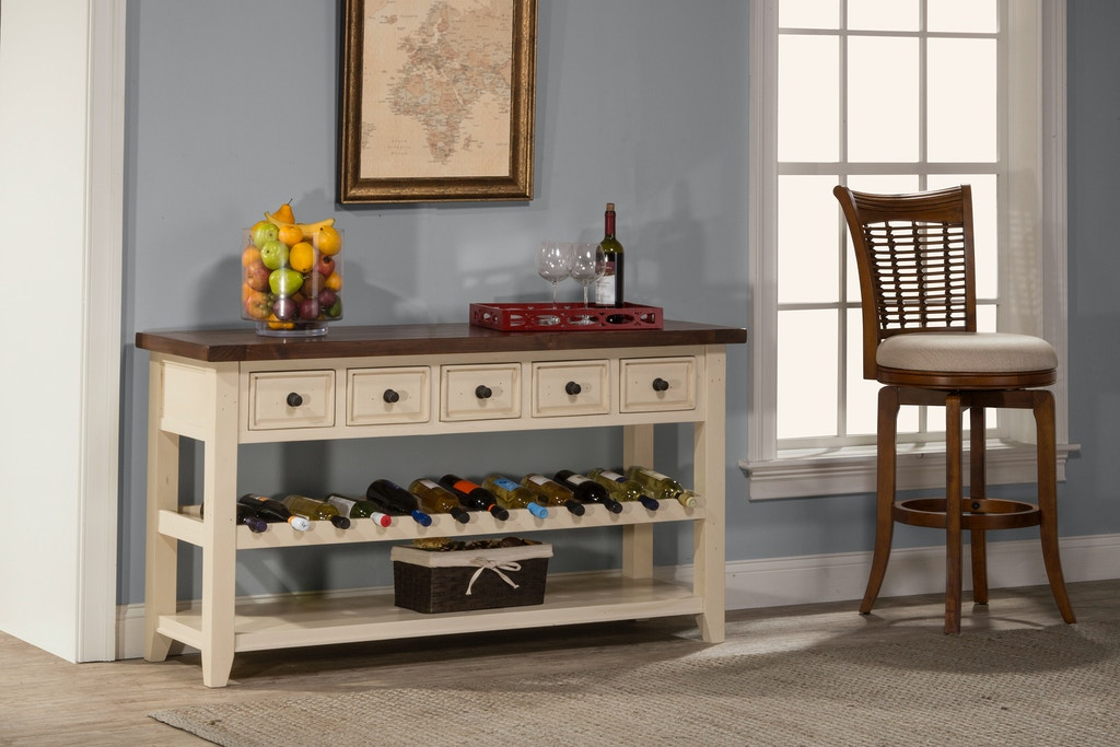 Hillsdale Furniture Living Room Tuscan Retreat Wine Rack Hall Table With 5 Five Drawers