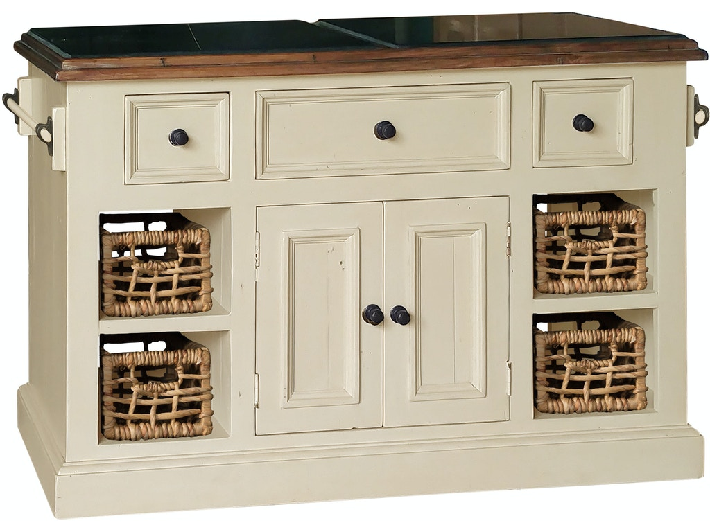 Hillsdale Furniture Tuscan Retreat Large Granite Top Kitchen Island With 2 Two Baskets Country