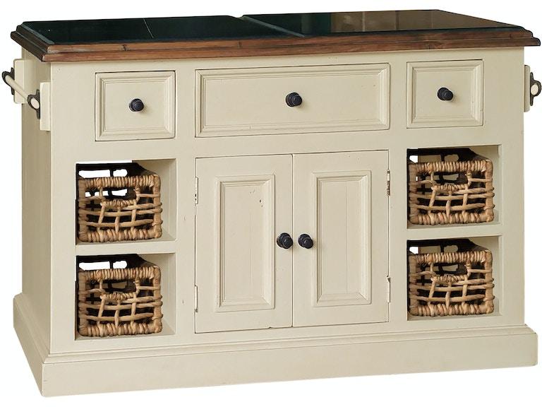 hillsdale furniture tuscan retreat large granite top kitchen island with 2 two baskets - Granite Top Kitchen Island