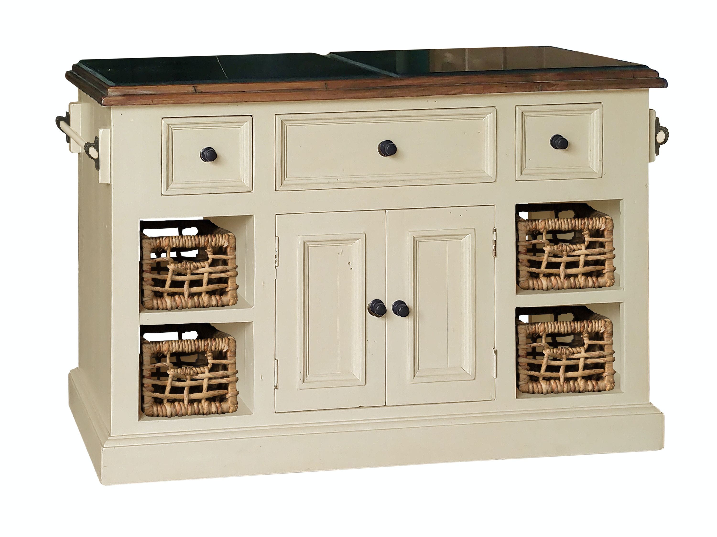Large Kitchen Islands With Granite Top Hillsdale Furniture Tuscan Retreat® Large Granite Top Kitchen Island with 2  (Two) Baskets