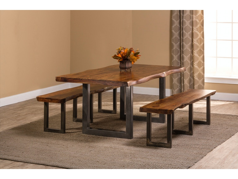 Hillsdale Furniture Emerson 3 Piece Rectangle Dining Set With Two 2 Benches