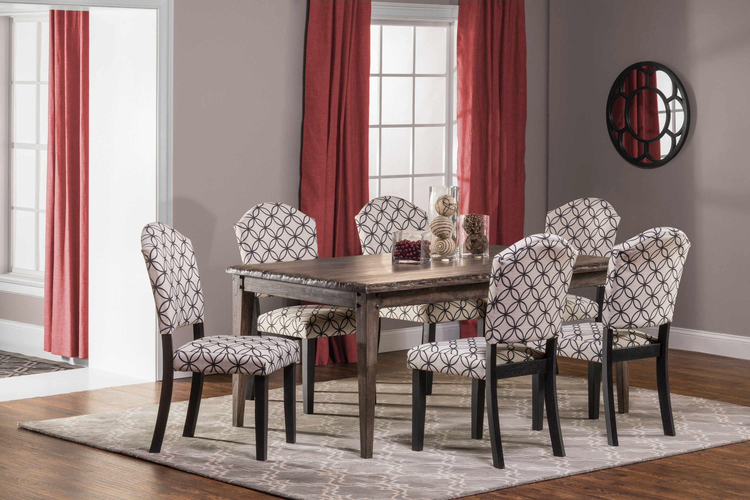 Hillsdale Furniture Lorient 7 Piece Rectangle Dining Set With Parsons Dining  Chair 5676DTRSP7
