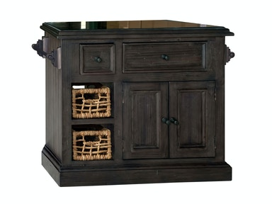 Hillsdale Furniture Tuscan Retreat ® Medium Granite Top Kitchen Island with 2 (Two) Baskets - Weathered Gray Finish 5823-1039W