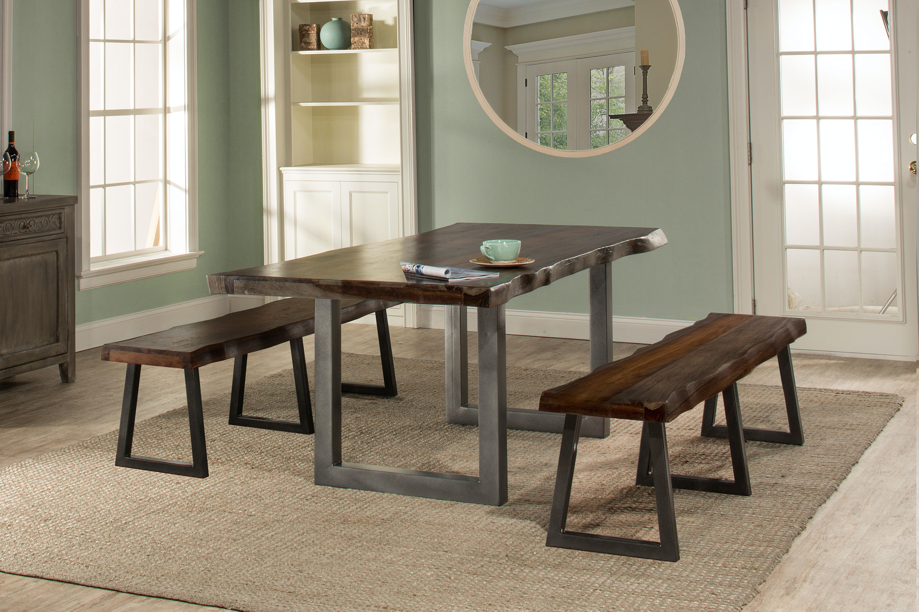 ... Hillsdale Furniture Emerson 3 Piece Rectangle Dining Set With Two (2)  Benches ...