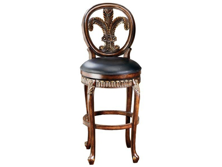 Fleur De Lis Triple Leaf Bar Stool With Leather Seat Hil62970