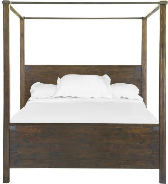 Magnussen home wood queen poster bed hb fb short canopies Short canopy bed