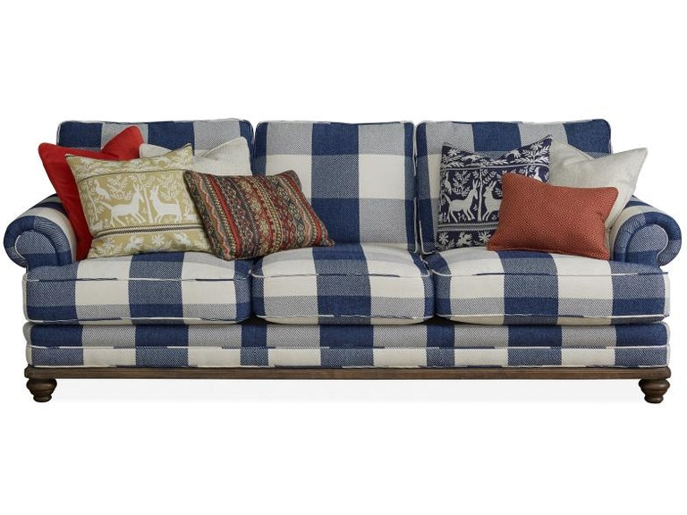 Magnussen Home Living Room Blue Check Sofa Buffalo
