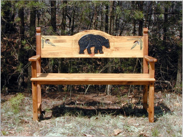 Southern Craftsmen S Guild Outdoor Patio Black Bear Bench 3503