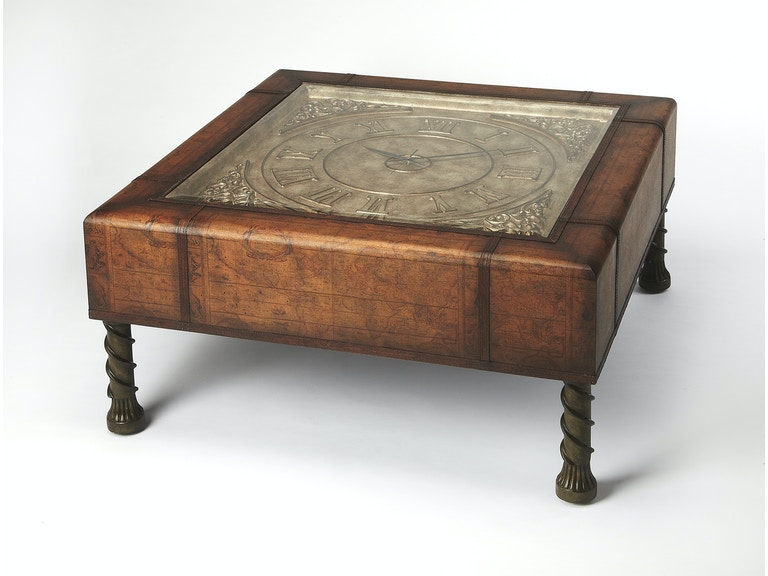 Old World Map Coffee Table.Butler Specialty Company Living Room Clock Coffee Table 0286070 La
