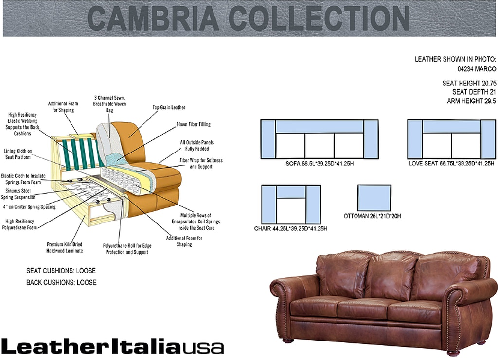 Leather Italia Living Room Arizona Sofa 1444-6110-0304234 ...