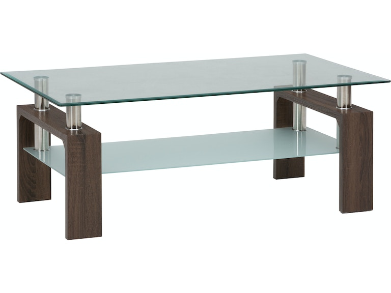 Jofran Living Room Glass Wood And Chrome Rectangle Cocktail Table Base 198 1b Modern Home
