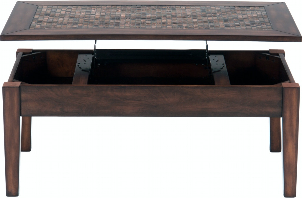 Jofran Living Room Lift Top Cocktail Table With Mosaic Tile Inlay