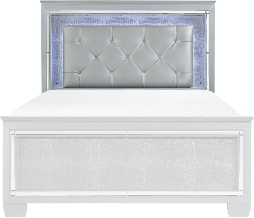 Homelegance Bedroom Queen Headboard Gray Pu And Led And Mirror 1916 1 The Furniture Mall
