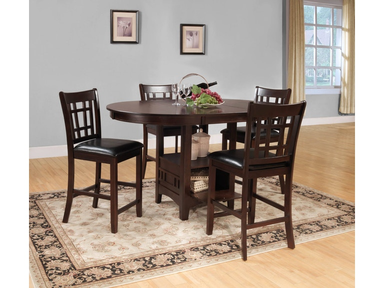 Homelegance Dining Room Round Oval Counter Height Table With Storage Base 2423 36 Anna S Home