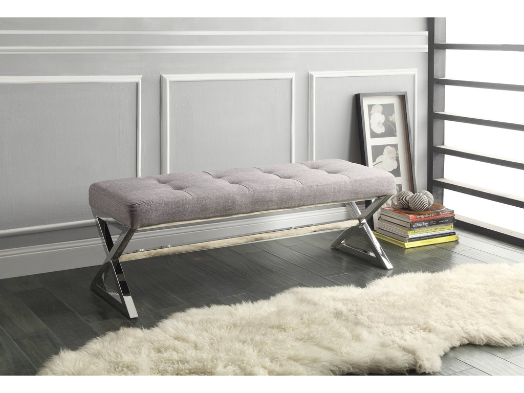 Homelegance living room x base bench 4605gy furniture for X bench living room
